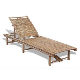 vidaXL Saulės gultas, bambukas