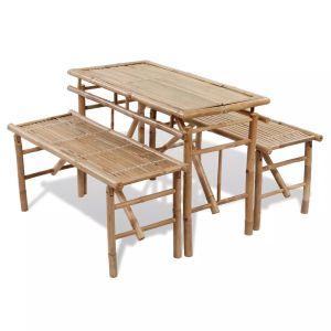 vidaXL Alaus stalas su 2 suoliukais, 100cm, bambuko mediena