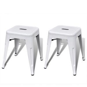 vidaXL Kėdutės, 2 vnt., sukraunamos, metalinės, baltos