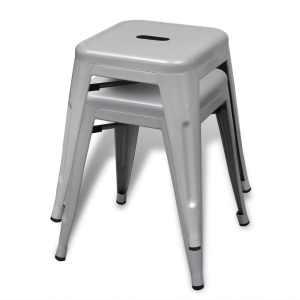 Kėdutės, 2 vnt., sukraunamos, metalinės, pilkos
