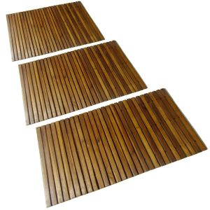 3 Mediniai Vonios Kilimėliai 80 x 50 cm, Akacija