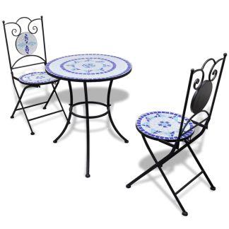 vidaXL Bistro baldų komplektas, 3d., mėl. ir balt. sp., keramik. plyt.
