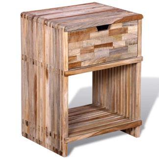 vidaXL Naktinis staliukas su stalčiu, perdirbta tikmedžio mediena