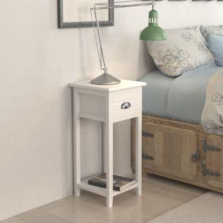 vidaXL Naktinis staliukas su stalčiuku, baltas