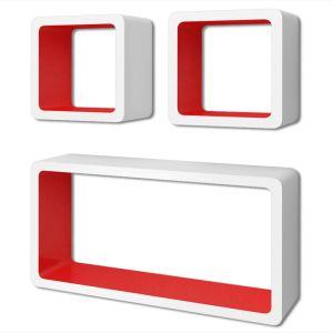3 Baltai Raudonos MDF Lentynos su Nematomais Laikikliais DVD, Knygoms