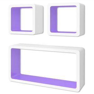 3 Baltai Violetinės MDF Lentynos Nematomais Laikikliais, Knygoms, DVD