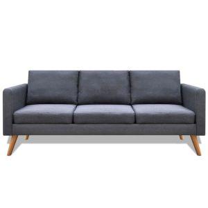 Trivietė sofa, audinys, tamsiai pilka