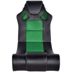 Muzikinė supamoji kėdė, dirbtinė oda, juodai žalia