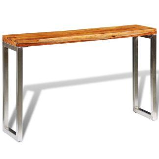 vidaXL Konsolinis staliukas su plien. koj., rausvos. dalbergijos med.