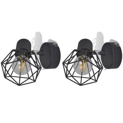 2 Juodi Industrinio Stiliaus Vieliniai Sieniniai Šviestuvai su LED