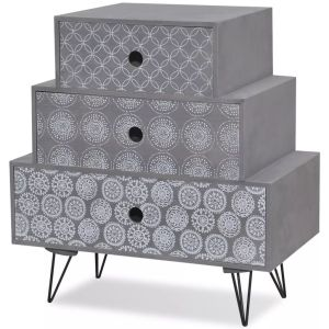 Kavos staliukas su 3 stalčiais, pilkas
