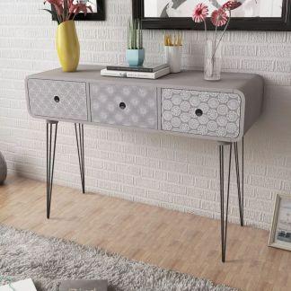 vidaXL Konsolinis staliukas su 3 stalčiais, pilkas