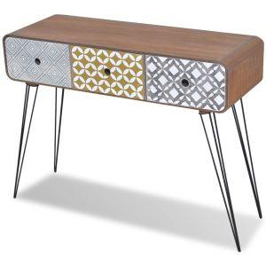 Konsolinis staliukas su 3 stalčiais, rudos spalvos