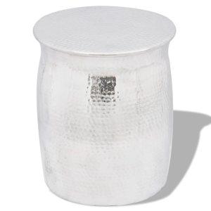 vidaXL Kalto aliuminio taburetė/šoninis staliukas, sidabro spalvos