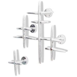 2 Sieniniai Kabliukai Rūbams iš Aliuminio, Sidabro Spalvos