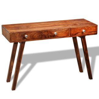 vidaXL Konsolinis staliukas su 3 stalčiais, 76 cm, masyvi akac. med.