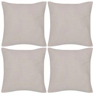 4 Smėlio Spalvos Pagalvėlių Užvalkalai, Medvilnė, 50 x 50 cm
