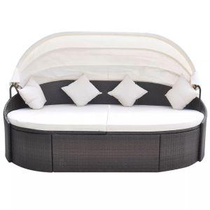 Lauko gultas su pagalvėlėmis, poliratanas, rudas