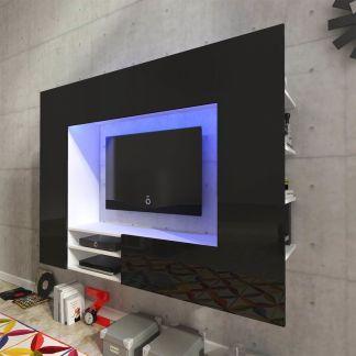 Juoda Labai Blizgi TV Spintelė Namų Kino Teatrui, LED, 169,2 cm