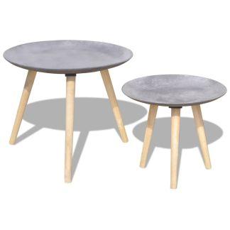 vidaXL 2 d. Kavos staliukų komplektas, 55 cm&44 cm, betono pilka sp.