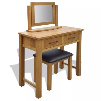 vidaXL Kosmetinis staliukas su kėdute, ąžuolo medienos masyvas