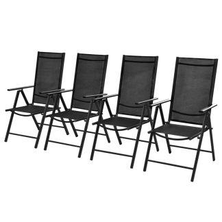 vidaXL Sulankst. sodo kėdės, 4 vnt, aliuminis ir tekstilenas, juodos