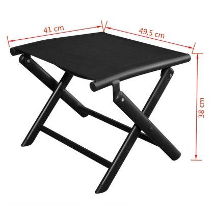 Sulankstoma kėdutė kojoms, aliuminis, 41×49,5×38 cm, juoda
