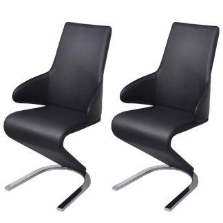 vidaXL Gembės formos valgomojo kėdės, 2 vnt., dirbtinė oda, juodos