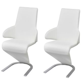 vidaXL Gembės formos valgomojo kėdės, 2 vnt., dirbtinė oda, baltos