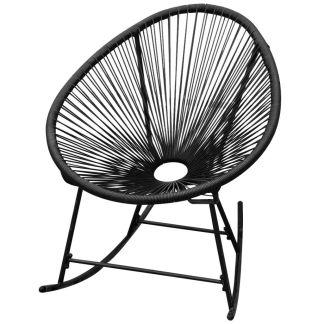 vidaXL Supamoji sodo kėdė, sintetinis ratanas, juoda