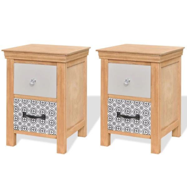 vidaXL 2 Mediniai naktiniai staliukai/spintelės su stalčiais