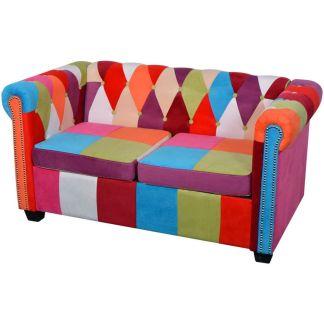 vidaXL Chesterfield dvivietė sofa, audinys