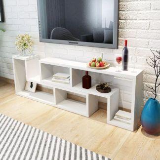 vidaXL TV staliukas, 2 dalių, L formos, baltas