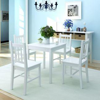 vidaXL Penkių dalių valgomojo komplektas, pušies mediena, baltas