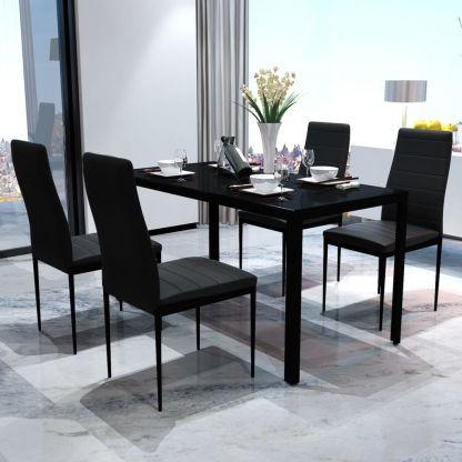 vidaXL 5 dalių valgomojo stalo ir kėdžių komplektas, juodas