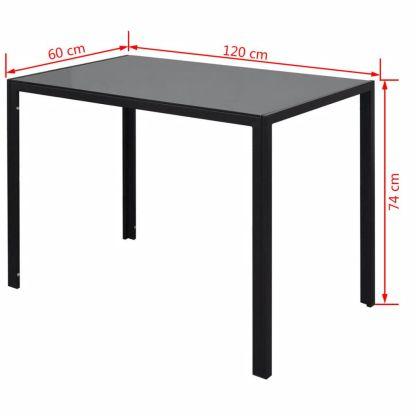 7 dalių valgomojo stalo ir kėdžių komplektas, baltas/juodas