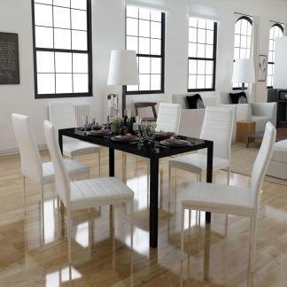 vidaXL 7 dalių valgomojo stalo ir kėdžių komplektas, baltas/juodas