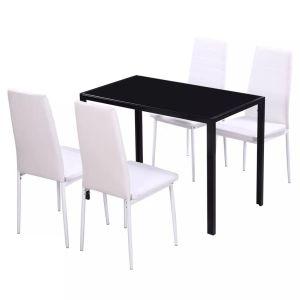 5 dalių valgomojo stalo ir kėdžių komplektas, baltas/juodas