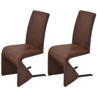 vidaXL Gembės formos valgomojo kėdės, 2 vnt., audinys, rudos