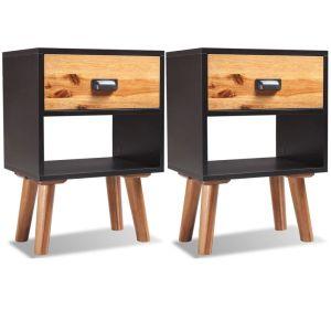 2 vnt., naktiniai staliukai, akacijos mediena, 40x30x58 cm