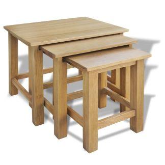 vidaXL Sudedami staliukai, 3 vnt., ąžuolo medienos masyvas