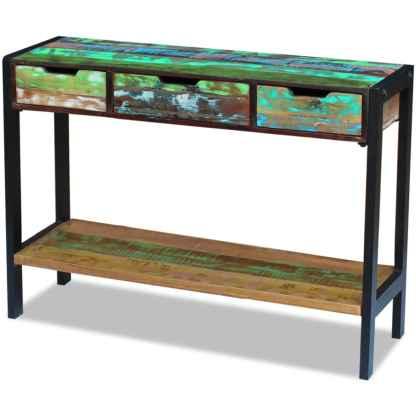 Perdirbtos medienos staliukas su 3 stalčiais