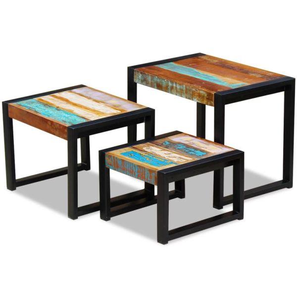 vidaXL 3 sustumiami staliukai iš perdirbtos medienos
