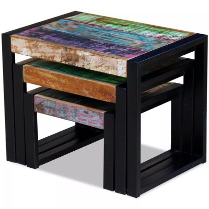 3 sustumiami staliukai iš perdirbtos medienos