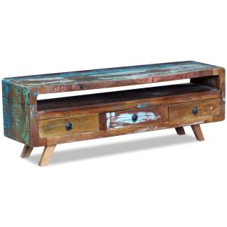 vidaXL TV staliukas su 3 stalčiais, masyvi perdirbta mediena