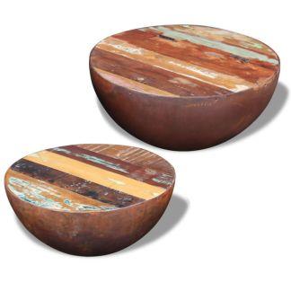 vidaXL Dubens formos kavos staliukas, 2 dalių , perdirbta mediena