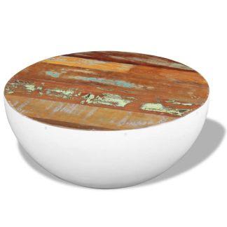 vidaXL Dubens formos kavos staliukas, perdirbta mediena, 60x60x30 cm
