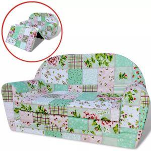 vidaXL vaikiška ištiesiama sofa, gėlėta