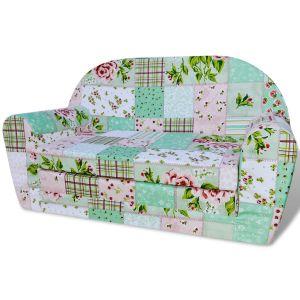 vaikiška ištiesiama sofa, gėlėta