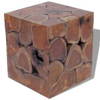 vidaXL Kėdutė, masyvi tikmedžio mediena, 40x40x45 cm